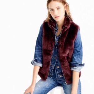 J Crew Burgundy Faux Fur Vest Sz XS